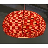 Red square light shade This hand made paper shade with hand painted squares design on a natural background gives a soft diffuse light. Please Click the image for more information.