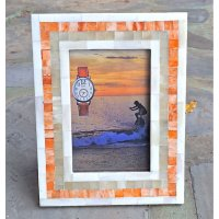 Mosaic sunset Hand made natural bone photo frame in soft coloursSlight differences in tones add a unique finish which is not mass produced. Please Click the image for more information.
