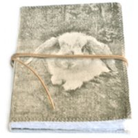Casper Bunny Journal Designed by NERO and inspired by the natural beauty of the Adelaide Hills in South Australia our CAsper Bunny design is hand printed on a washed canvas cover and tied by a natural leather string . Please Click the image for more information.
