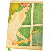 Canvas art deco tennis girl Designed by NERO in the  Adelaide Hills in South Australia the tennis girl journal  features an old art deco print on washed natural canvasPages are lined and in separate sections An. Please Click the image for more information.