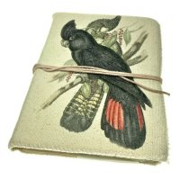Australian Native Black Parrot Journal Designed by NERO and inspired by the natural beauty of the Adelaide Hills in South Australia this beautiful native black parrot design is hand printed on a washed canvas cover and tied by a natural leather string . Please Click the image for more information.