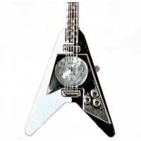 Kiss Guitar clock  Black and white KISS guitar clock on a stand Please Click the image for more information.