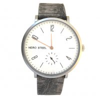 NERO STEEL Byron Copper & Charcoal Designed in  our studio in the Adelaide Hills of Australia this version of the N E R O STEEL Byron is a minimal design stainless steel watch with an antique finish highlighted by  natural copper hands on a white dial and a separate seconds dialA . Please Click the image for more information.