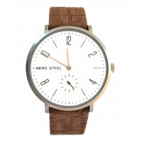 NERO STEEL Byron Copper & Chocolate Designed in  our studio in the Adelaide Hills of Australia this version of the N E R O STEEL Byron is a minimal design stainless steel watch with an antique finish highlighted by  natural copper hands on a white dial and a separate seconds dialA . Please Click the image for more information.