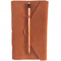 Medici Designed by NERO in Australia this classic natural  leather  suede journal has a  simple pencil closure for a minimal contemporary look in soft tan apricot tonesThe pages are hand made from recycled cotton and  are acid free and wood free. Please Click the image for more information.