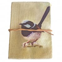 Australian Blue wren journal Inspired by the blue wrens in our  garden  in the Adelaide Hills this design is hand printed on a washed canvas cover and tied by a natural leather string . Please Click the image for more information.