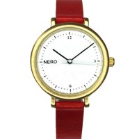 Zara gold & red Designed in Australia by NERO this version of the Zara watch has a clear white dial  black numbers and white second hand to create an individual bespoke watchA. Please Click the image for more information.
