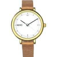 Zara gold & camel Designed in Australia by NERO this version of the Zara watch has a clear white dial  black numbers and white second hand to create an individual bespoke watchA. Please Click the image for more information.