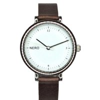Zara - silver & mocha Designed in Australia by NERO  this Zara watch has a clear white dial  black numbers and white second hand to create an individual bespoke watchA. Please Click the image for more information.