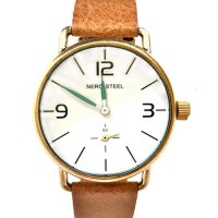 NERO STEEL Colt gold & earth This NERO steel Colt is a minimal retro design stainless steel watch with antique gold finish offset by floating oxide green hands on a snow white dial and a separate second hand dial. Please Click the image for more information.