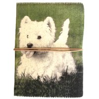 Fergus the Westie Designed by NERO this journal features Fergus our adorable Westie  always full of fun Made from natural washed canvas and hand made wood free hand torn deckled paper this journal is designed by NERO in Australia. Please Click the image for more information.