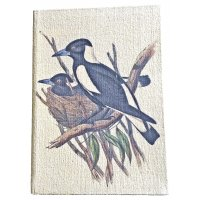 Australian Magpie Journal  A4  Designed by NERO and inspired by the natural beauty of the Adelaide Hills in South Australia this beautiful native Magpie design is hand printed on a washed canvas cover and is beautifully boxedP. Please Click the image for more information.