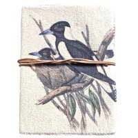 Australian Magpie Journal  Designed by NERO and inspired by the natural beauty of the Adelaide Hills in South Australia this beautiful native magpie design is hand printed on a washed canvas cover and tied by a natural leather string . Please Click the image for more information.