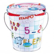 Aladine Stamp Box Letters The mother of all stamp sets beautifully presented in a tin bucket for storage The Aladine Letters and numbers Stamp Box consists of a whopping 40 stamps consisting of the whole alphabet numbers 09 5 animal characters and minus plus and equals symbols as well as 2 large washable ink pads 12 quality felt tipped pens and 24 sheets of templated pages to create your own creations . Please Click the image for more information.