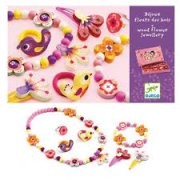 Djeco Wooden Flower Jewellery with Box SOLD OUT This wooden flower jewellery set by Djeco will make any little girl feel like a princessThe set includes different wooden jewellery a necklace bracelet 2 hair clips 2 hair bands and a ring decorated with cute little wood animals and flowers and all kept together in a pink illustrated boxDimensions. Please Click the image for more information.