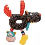 T'es Fou Louloup Mini Activity Wolf Rattle SOLD OUT Mini activity Wolf Hook and loop strap for crib or stroller attachmentPig squeaks tail crinkles and head chimes Cell phone is a teether phthalate and BPA free Please Click the image for more information.