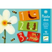 Djeco Duo Numbers Puzzle SOLD OUT A colourful number association game Match the numeral on one piece to the number of things in the picture on another . Please Click the image for more information.