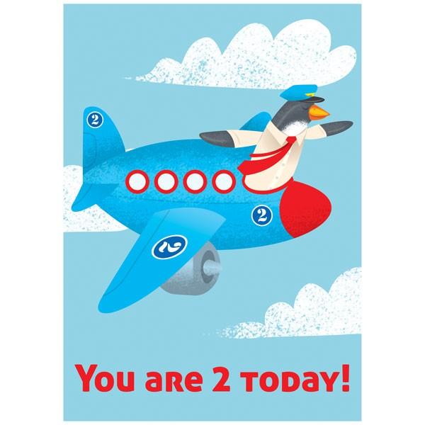 Eeboo Plane 2 Year Old Birthday Card