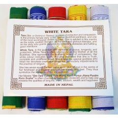 Cotton Tibetan Prayer Flags-5 Rolls White Tara- Mantra of Protection/Compassion Buddhist belief is strong in the power of these sacred flags The colours of a prayer flag and the symbols printed on it create a prayer or an offering that the wind distributes to the world each time it brushes against the flag . Please Click the image for more information.