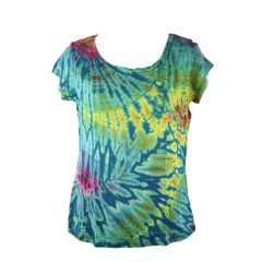 Tie Dye Stretch Rayon Cap Sleeve T-Shirt - One Size - Assorted Colours Tie Dye Stretch Rayon Cap Sleeve TShirt  One Size  Assorted Colours  Made in Thailand   Our classic cap sleeve tee in absolutely stunning spandex rayon tie dyesAssorted colours Great   Very flattering on sizes 814 smooth and soft fitting fabricThe photos shown are a sample only as each Tie Dye is unique  If you wis. Please Click the image for more information.