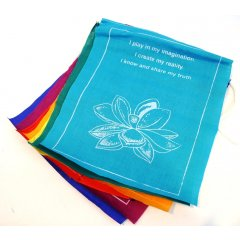Affirmation Flags-Large-7 Rolls, 100% Cotton, Healing Lotus,7 Mantras/7 Colours You are buying a pack of 7 rolls of healing flags sewn on a string to hang horizontally Made in NepalEach roll has 7 flags with7 colours  yellow orange red green dark blue light blue  cherry7 different mantras  as above1 Flag measures approximately 24 x 20cm1 StringRoll measures approximately 150 cm Each string displays 7 simple everyday positive reminders to help us get through life on brightly coloured flags7 Mantras as followsI am saf. Please Click the image for more information.