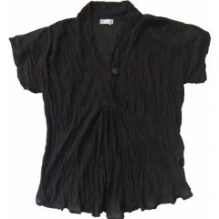 Marketique Crushed Cotton Blouse V-Neck, Short Sleeve One Size Top SellerVery popular Crushed 100 Cotton Blouse in a loose fitting style that is great for travelThis . Please Click the image for more information.