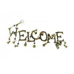 'Welcome' Hanging, Brass with Coloured Beads and Bells Welcome Hanging with Coloured Beads and Bells Great at the front door as a welcome or on a veranda This. Please Click the image for more information.