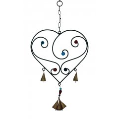 """SALE"" Heart Wind Chime Glass Beads/Metal Bells, Black Metal, Feng Shui, Hippy Heart shaped Wind Chime made of Black Metal with decorative glass beads and small metal bells Add Love and positive Feng Shui energies to your home This beautiful chime makes a lovely tinkling sound and would enhance the decor inside or outside on a verandaL. Please Click the image for more information."