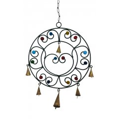 Round Wind Chime Metal Bells Coloured Glass Beads, Black Metal, Feng Shui, Hippy Round Wind Chime made of Black Metal with decorative glass beads and small metal bells Add Love and positive Feng Shui energies to your home . Please Click the image for more information.