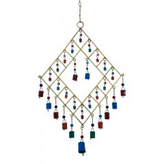 Gold Metal Wind Chime with Coloured Cow Bells & Glass Beads, Feng Shui, Hippy-Lg Wind Chime made of Gold painted metal with decorative glass beads and small painted metal bells Add Love and positive Feng Shui energies to your home . Please Click the image for more information.