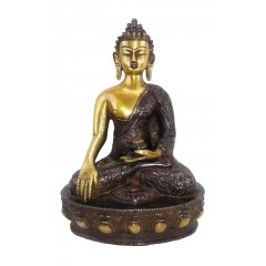 "Dragon Carving Bronze Buddha Sakyamuni Statue ""The Enlightened One"" 30cm H/3.7K  This beautiful Bronze Statue depicts Buddha Sakyamuni with  two tone finish and decorated with Ornate Dragon carvings. Please Click the image for more information."