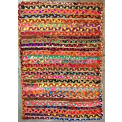 Natural Multi Coloured Braided Rectangle Rug 50% Cotton 50% Jute - 120 X 180 cm This rug is  Hand Made from Recycled fabricsIt is colourful vibrant heavy and hard wearing180 x 120 cm50 Cotton  50 JuteWeight Boxed  65 KgThe colour m. Please Click the image for more information.