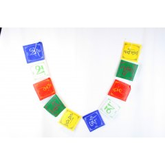 Mini Cotton Tibetan Flags 10 Flags, 5 Colours with the Om Mantra-Compassion 1 Packet has a string of 10 Flags depicting the Om Mantra10 Flags 5 ColoursLength of string  110 cm1 Flag  9 x 10 cmThe Om Symbol is recited by Buddhists painted on rocks and carved on prayer wheels The essence of the teachi. Please Click the image for more information.