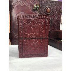 Hand Made Leather Bound Book - Small -with a hand tooled cover -7 Designs Hand Made Leather Bound Book  Small  with a hand tooledstamped cover featuring either a Buddha Ganesh Dragon Om Tree of Life Pentagram or Elephant design The boo. Please Click the image for more information.
