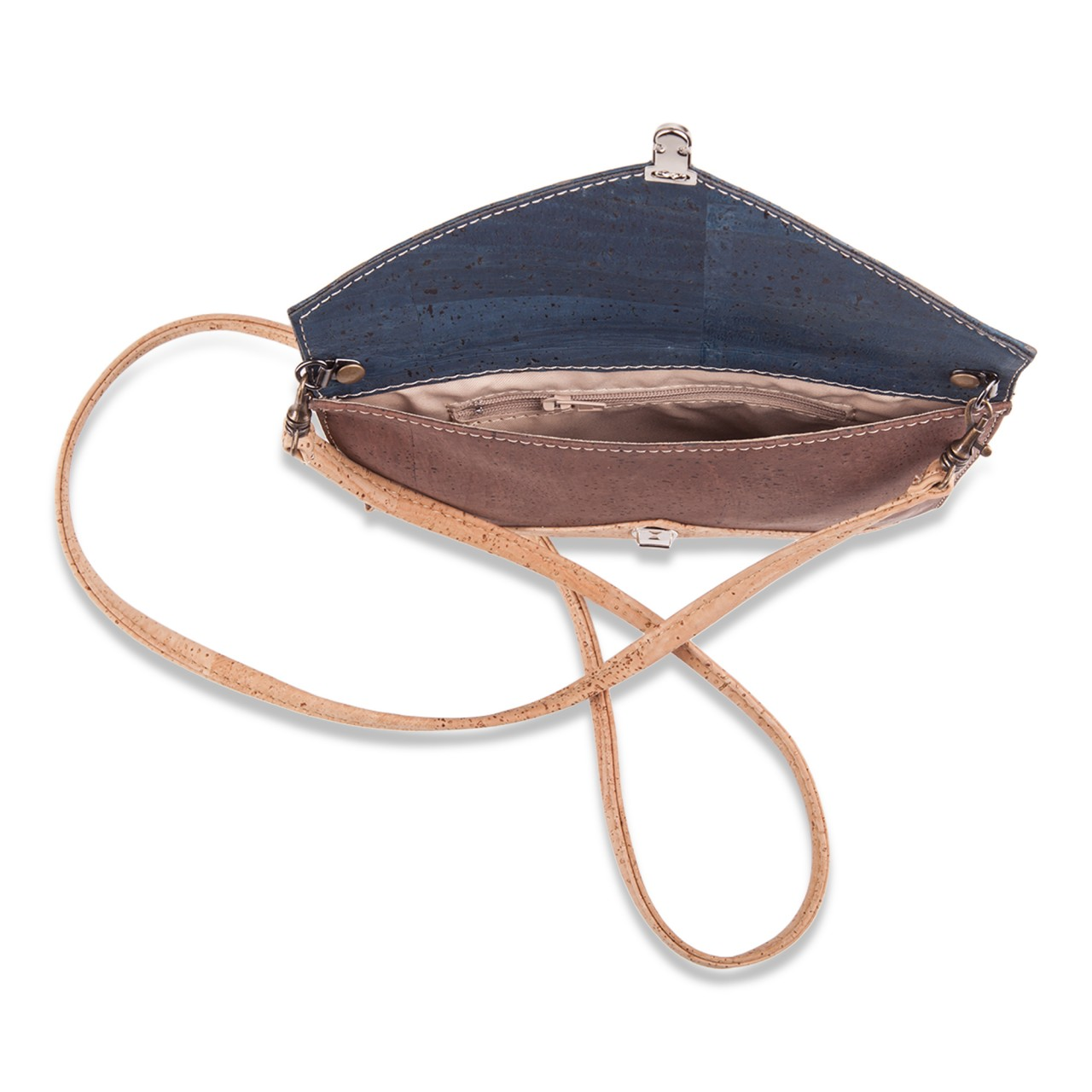 67768255af0 KATHERINE CORK TRICOLOR ENVELOPE SLING BAG (BEIGE/BROWN/DARK BLUE)