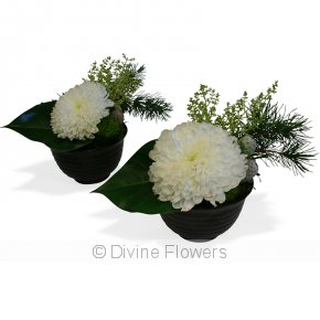 Product Image for Table Flower Bowl In White & Green